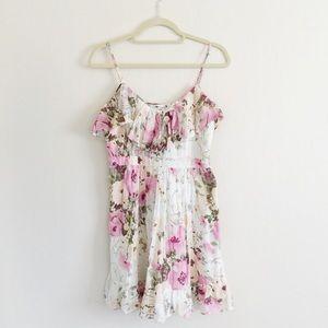Tikirani Romantic Floral Ruffle Flounce Dress